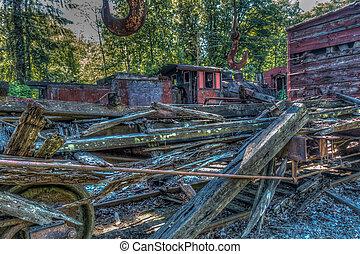 列車, 古い,  hdr, 残骸