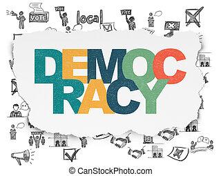 político, concept:, democracia, en, rasgado, papel,...
