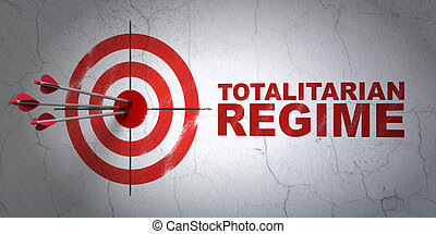 Politics concept: target and Totalitarian Regime on wall...