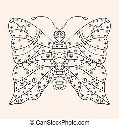 Tangle Patterns stylized Butterfly Hand Drawn vector...