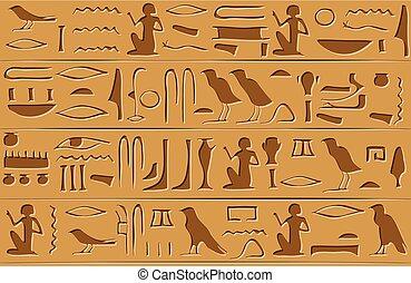 Egyptian hieroglyphs seamless pattern
