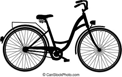Bicycle silhouette isolated on white background, Vector...