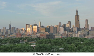 Golden Chicago Skyline at Sunset - Video timelapse of...