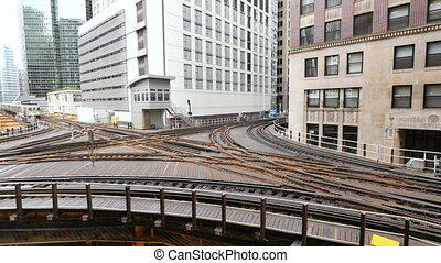 Elevated Metro in Chicago Loop - Cta trains running on...