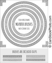Vector set of four hand drawn meander brushes with corner...
