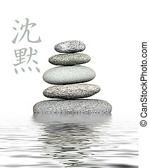 Cairn Silence - stack of gray pebble in water, chinese...
