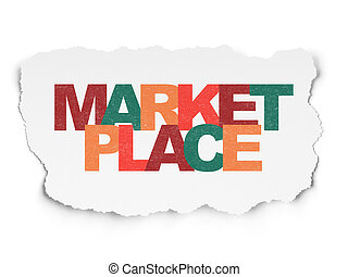 Marketing concept: Marketplace on Torn Paper background -...