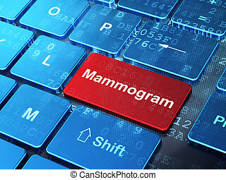 Healthcare concept: Mammogram on computer keyboard...