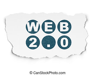 Web development concept: Web 20 on Torn Paper background -...