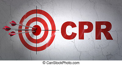 Medicine concept: target and CPR on wall background -...