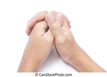 Praying hands - Two hands folded in prayer Isolated over...
