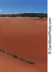 Red sand dunes Mui Ne villiage, Vietnam - Red sand dunes in...