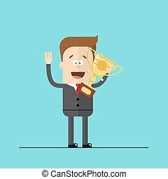 happy businessman or manager with the award in his hands. Cartoon vector image