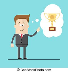 Happy businessman specifies hand on the award . Thoughts the Cup. Hight quality vector illustrarion