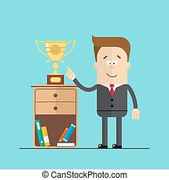 Happy businessman or manager shows hand on the award , cup standing the nightstand. Hight quality vector illustrarion