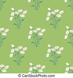 Seamless Pattern with Chamomile Bouquet