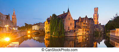 Rozenhoedkaai and Dijver river canal in Bruges, Belgium. -...