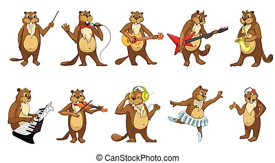 Vector set of cute beavers music illustrations - Set of...