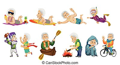 Vector set of old sports man illustrations - Vector set of...