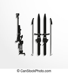 Sports symbol. Biathlon. - Black and white illustration on a...
