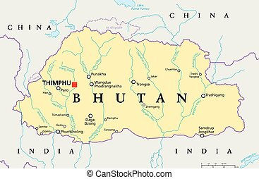 Bhutan Political Map - Bhutan political map with capital...
