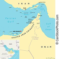 Strait of Hormuz Political Map - Strait of Hormuz, Abu Musa...
