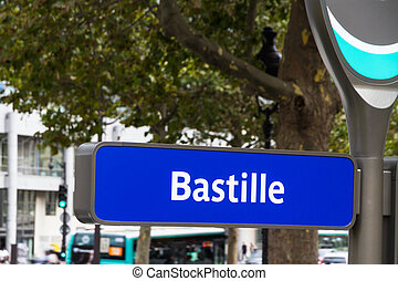 Paris bus stop Bastille - Bus stop for bastille, Paris in...