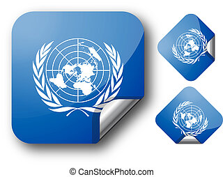 Sticker with UN flag - Sticker with United Nations flag...