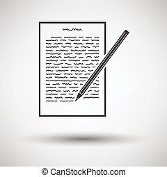 Sheet with text and pencil icon on gray background, round...