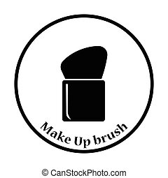 Make Up brush icon Thin circle design Vector illustration