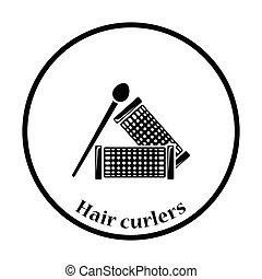 Hair curlers icon. Thin circle design. Vector illustration.