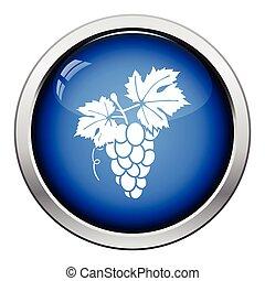 Icon of Grape. Glossy button design. Vector illustration.