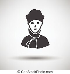 Poet icon on gray background, round shadow. Vector...