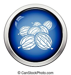 Icon of Gooseberry Glossy button design Vector illustration...