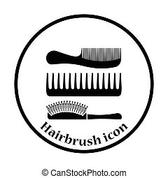 Hairbrush icon. Thin circle design. Vector illustration.