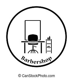 Barbershop icon. Thin circle design. Vector illustration.