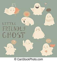 Ghosts emoticon halloween set