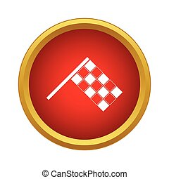 Racing flag icon, simple style - Racing flag icon in simple...
