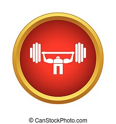 Weightlifter icon, simple style - Weightlifter icon in...