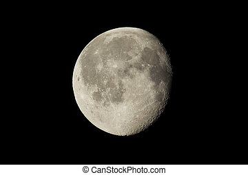 Waning gibbous moon, almost full moon, seen with an...