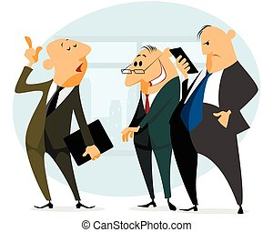 Three businessmen speaking
