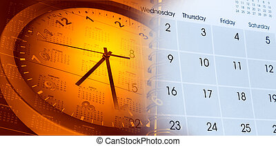 Clock and calendars - Clock face and calendars composite