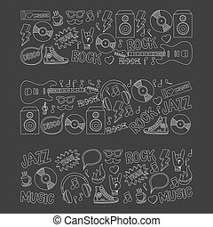 Vector doodle set Music and sound For any kind of design...
