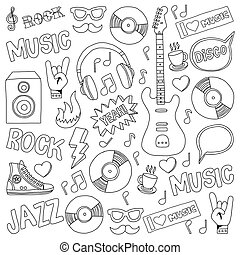 Vector doodle set with music hand drawn elements - Vector...