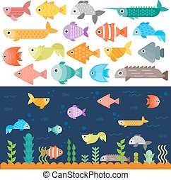 Underwater fishes vector set - Tropical underwater fishes...