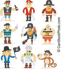 Cartoon pirates vector set.