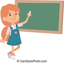 School girl class board vector illustration - Cute little...