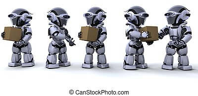 robots moving shipping boxes - 3D render of a robots moving...