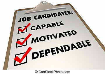 Job Candidates Qualities Requirements Interview Checklist 3d...