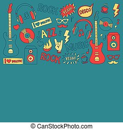 Doodle vector icons Music and sound Hand drawn pictures